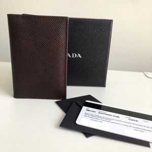 Brown Prada bifold card case